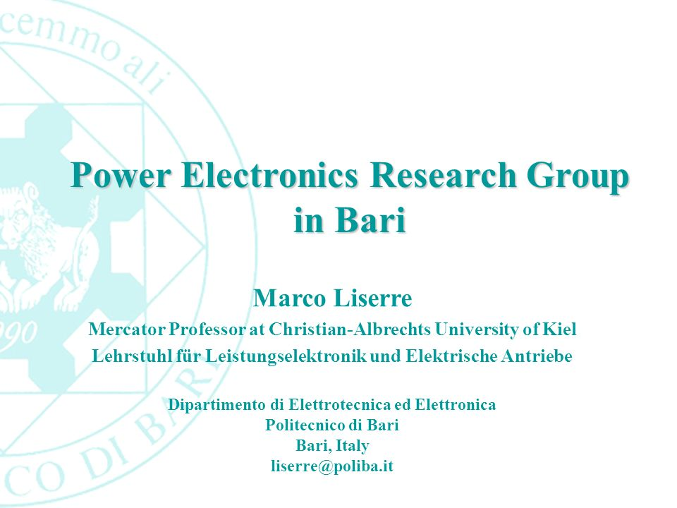 Power Electronics Research Group in Bari