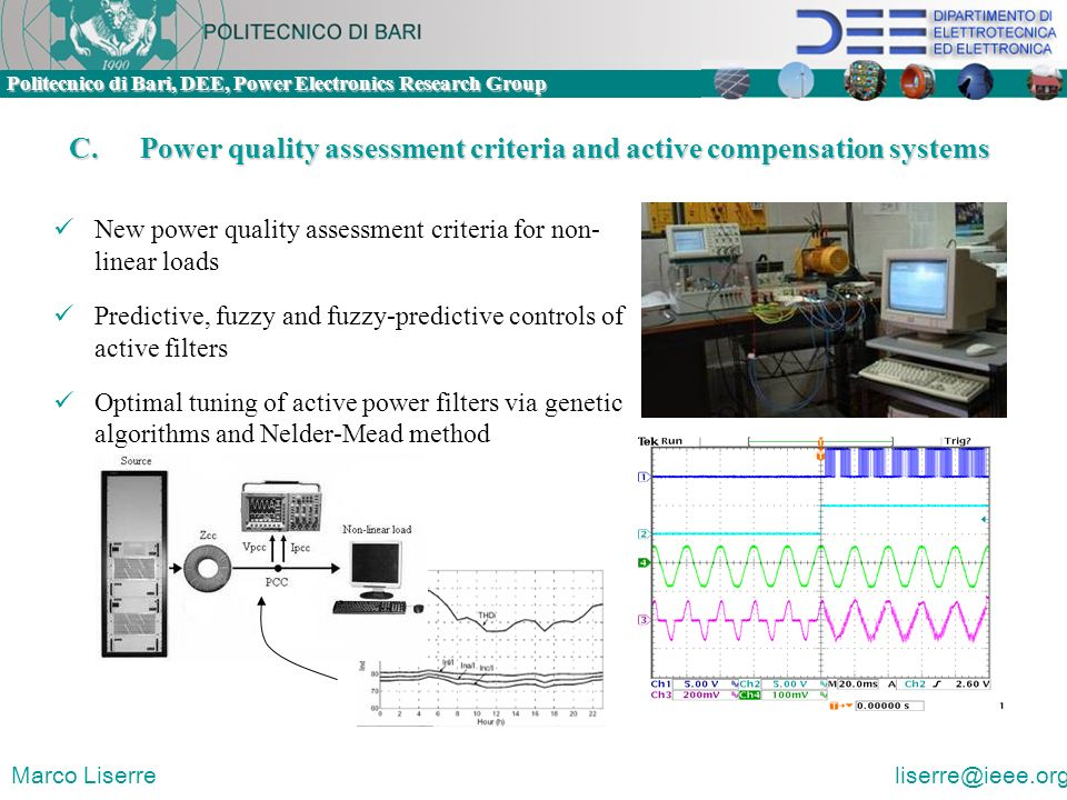 C. Power quality assessment criteria and active compensation systems