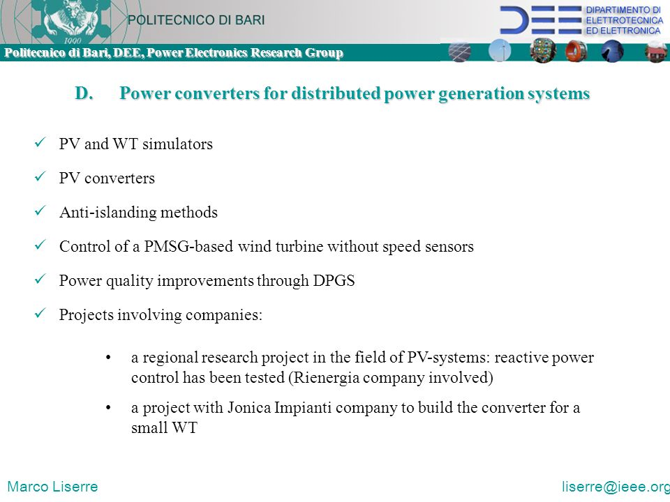 D. Power converters for distributed power generation systems