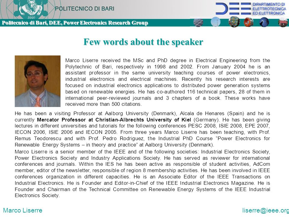 Few words about the speaker