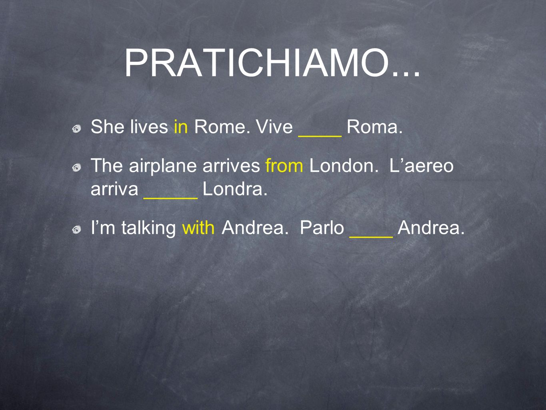 PRATICHIAMO... She lives in Rome. Vive ____ Roma.