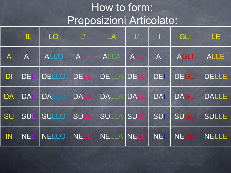 How to form: Preposizioni Articolate: