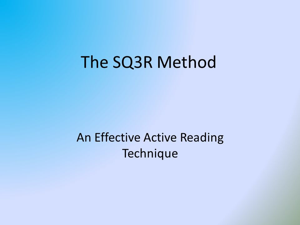 thesis about sq3r technique Reading comprehension and reading strategies rebecca j baier a research paper submitted in partial fulfillment of the requirements for the t master.