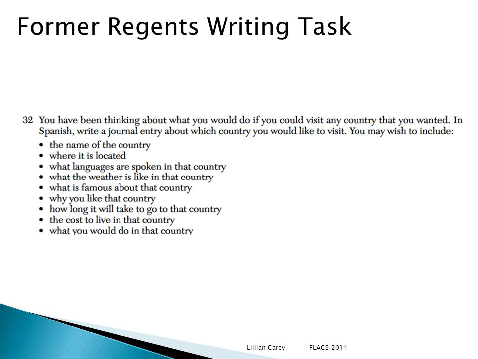 Former Regents Writing Task