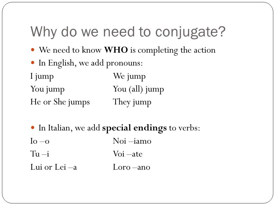 Why do we need to conjugate