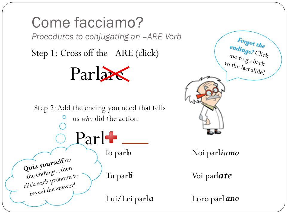 Come facciamo Procedures to conjugating an –ARE Verb