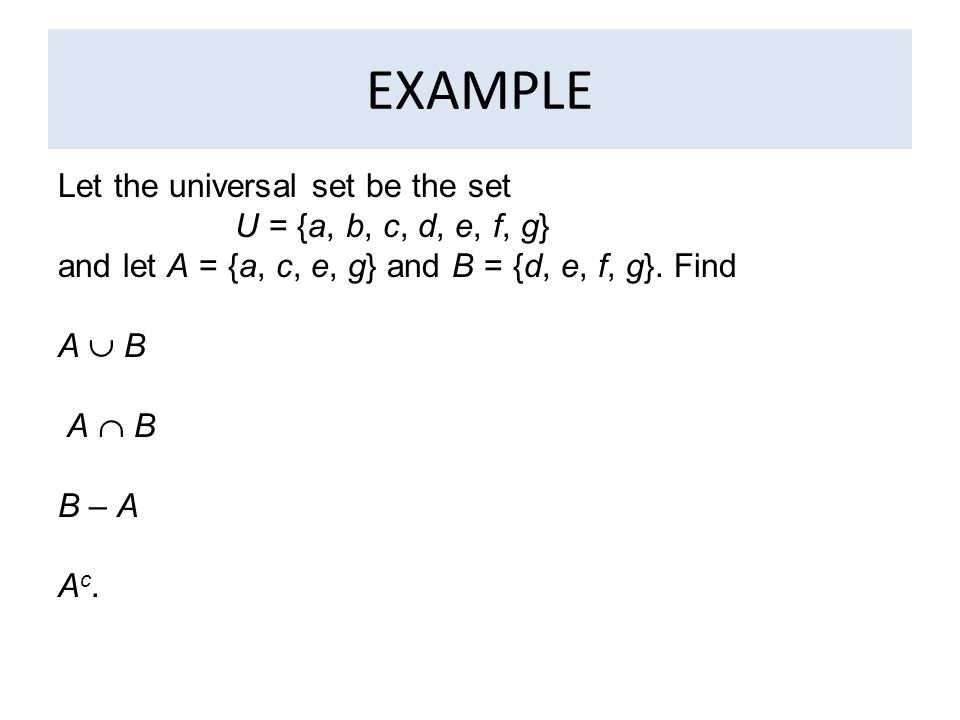 how to find universal set