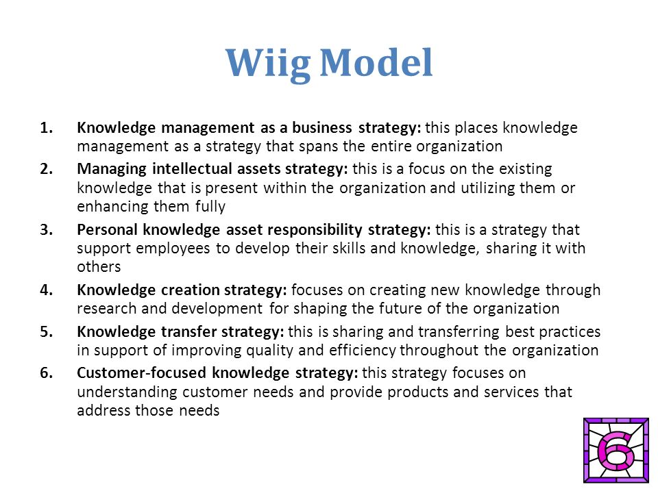 wiig km model The knowledge management does not have any value if knowledge created is not  the model of knowledge management life cycle  wiig km life cycle page.