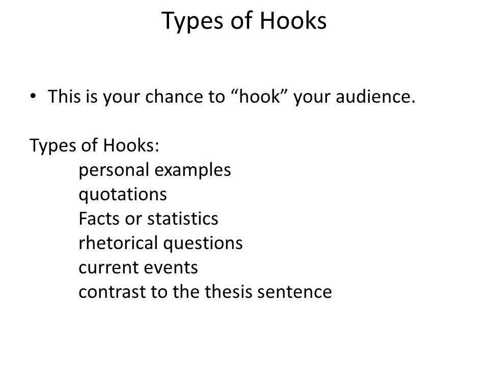 essay writing ppt  types of hooks this is your chance to hook your audience