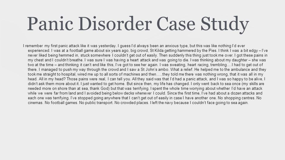 Case study of panic anxiety disorder