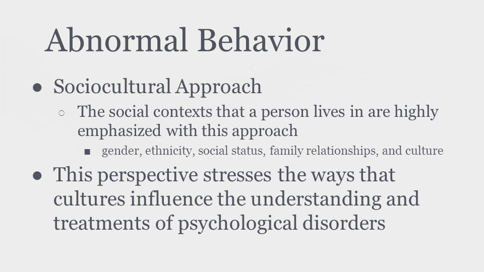 theoretical explanations of abnormal behavior Three theories of criminal behavior updated on crimes then would result from abnormal to establish psychological explanations of criminal behavior.