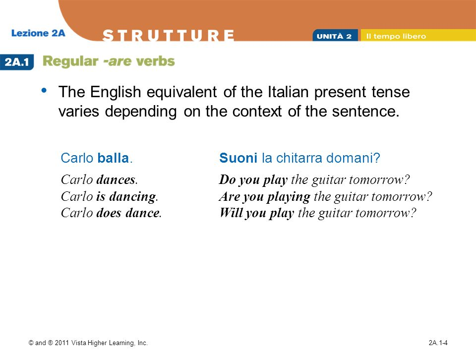 The English equivalent of the Italian present tense varies depending on the context of the sentence.