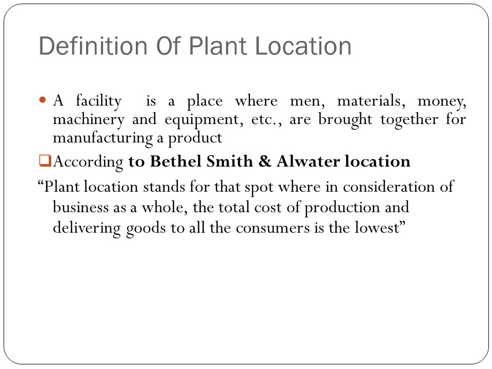 Definition Of Plant Location