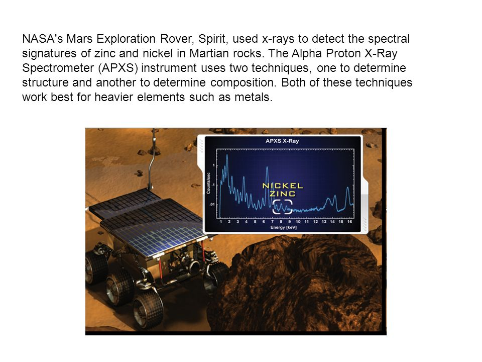 NASA s Mars Exploration Rover, Spirit, used x-rays to detect the spectral signatures of zinc and nickel in Martian rocks.