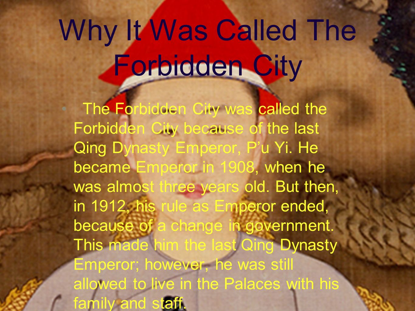 ppt about forbidden city essay Essay on the mosque 2 a)  the mob followed them until they were driven to the outskirts of the city  by preventing women from committing forbidden actions.