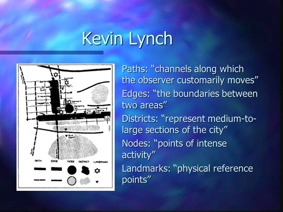 kevin lynch s image of the city From the image of the city (1960) kevin lynch  this influential chapter on the city image and its elements presents lynch's best known concepts on how.