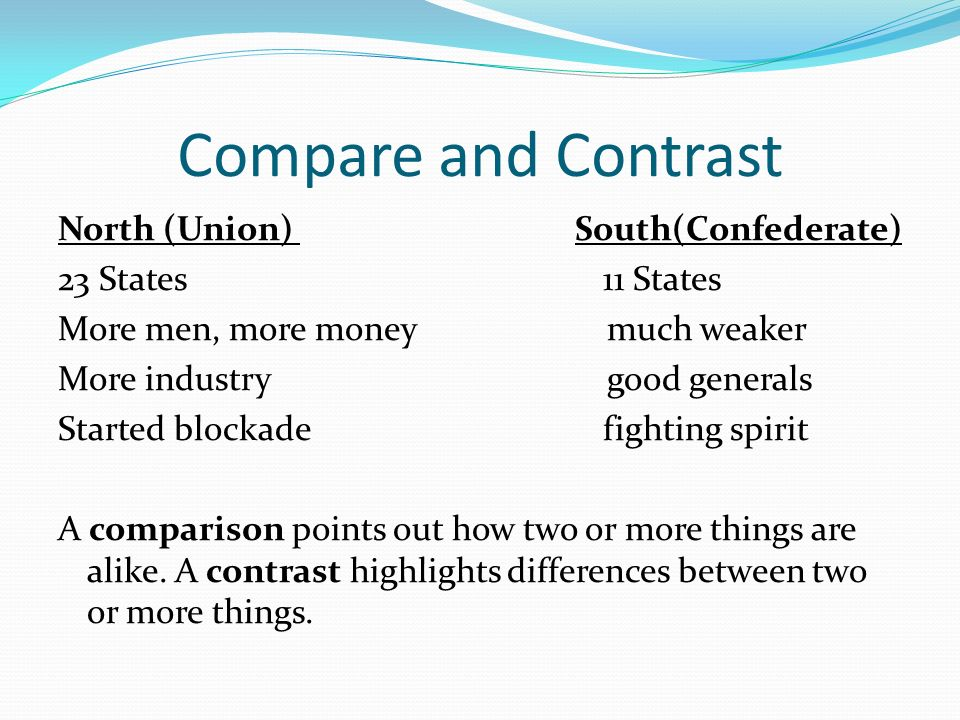 Good things to compare and contrast