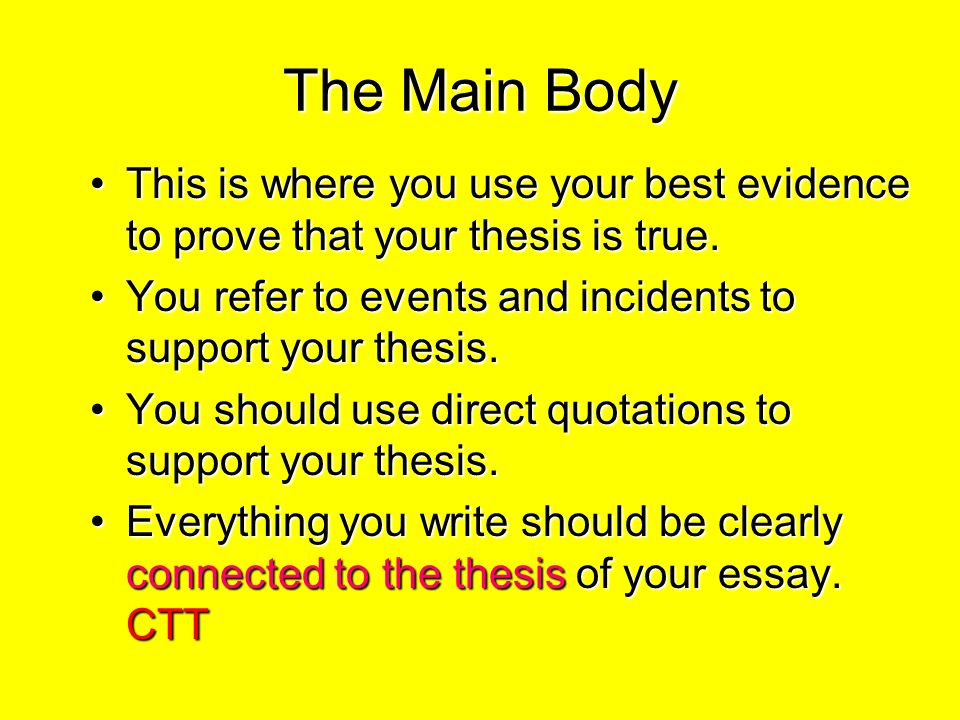 main body of essay Main body of research paper click heremain day paper life trying to be honest with herself and with researches, avoiding gossip.