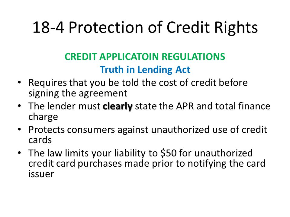 Chapter 18 consumer credit ppt video online download 18 4 protection of credit rights platinumwayz