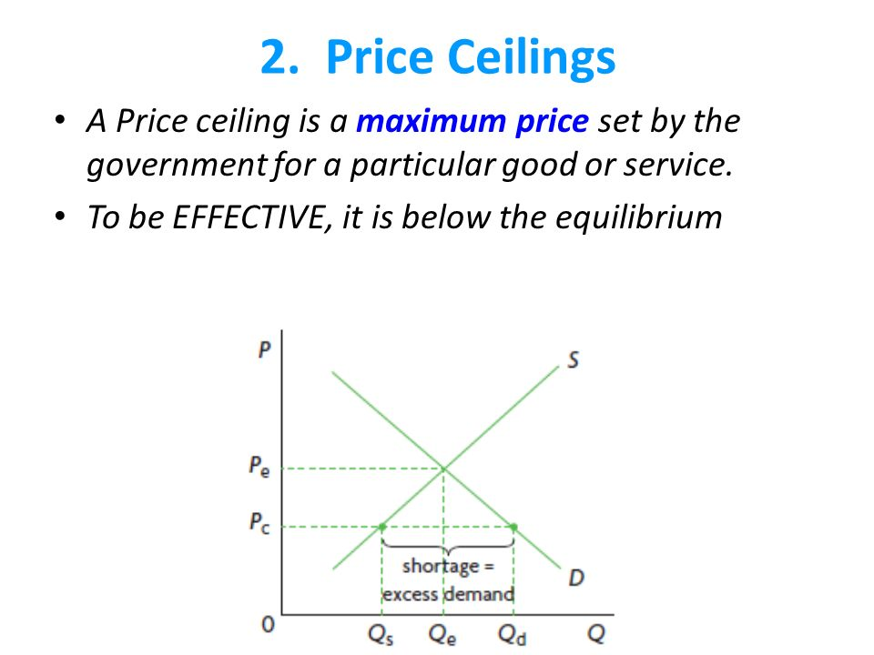 Price Ceilings A Price Ceiling Is A Maximum Price Set By The Government For