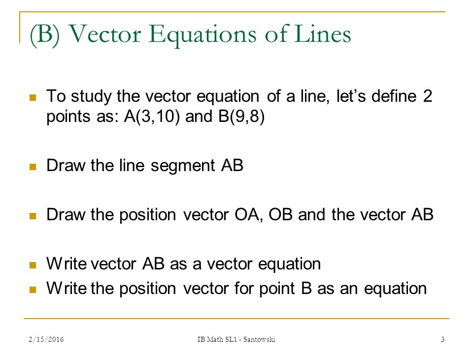 Drawing Lines From Equations : T vector parametric equations of lines ppt video