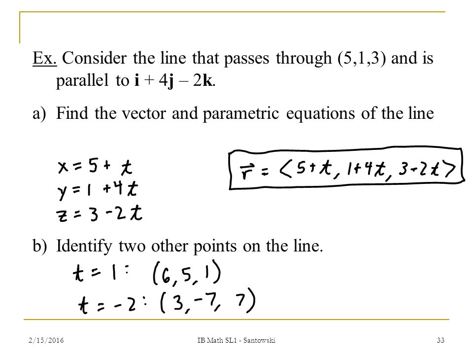 T5.3 – Vector & Parametric Equations of Lines - ppt video online ...