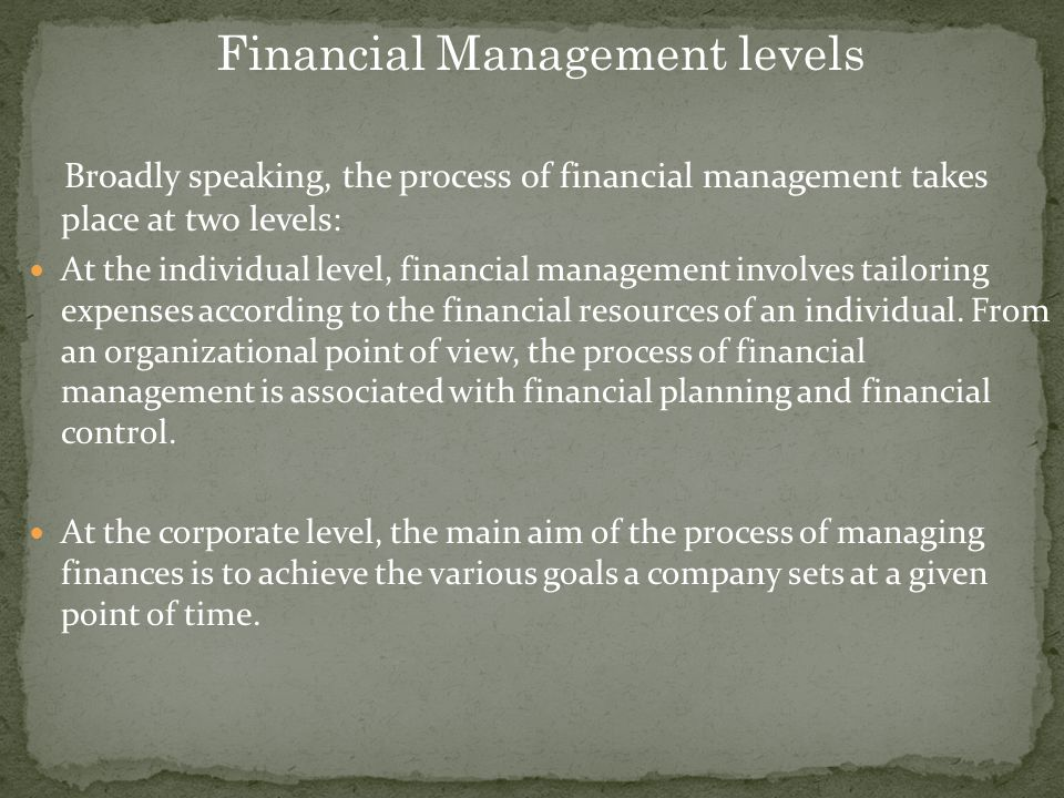 Financial Management levels