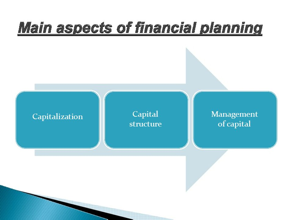 Capital structure Management of capital Capitalization