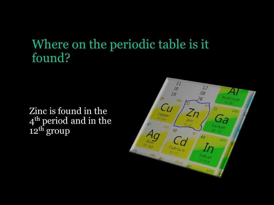 where on the periodic table is it found - Periodic Table Atomic Mass Zinc