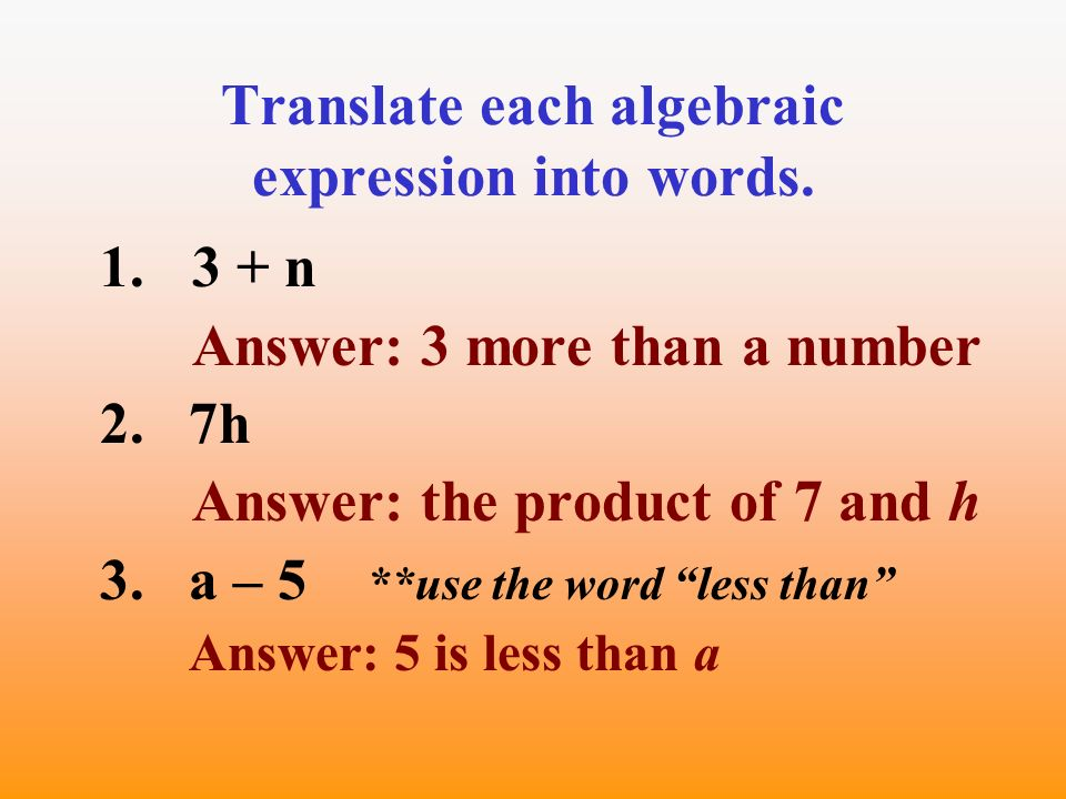how to write algebraic expressions in words