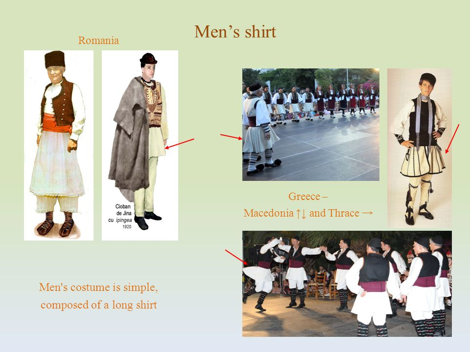 Men's shirt Men s costume is simple, composed of a long shirt Romania
