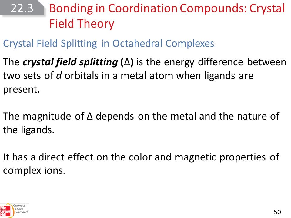 chemical bond and crystal field theory See also: covalent bond, crystal field theory, ionic bond, ligand field theory, molecular orbital theory, valence bond theory.