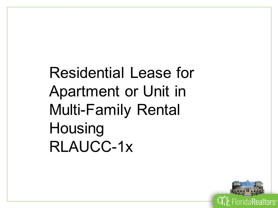 residential lease for apartment or unit in multi family
