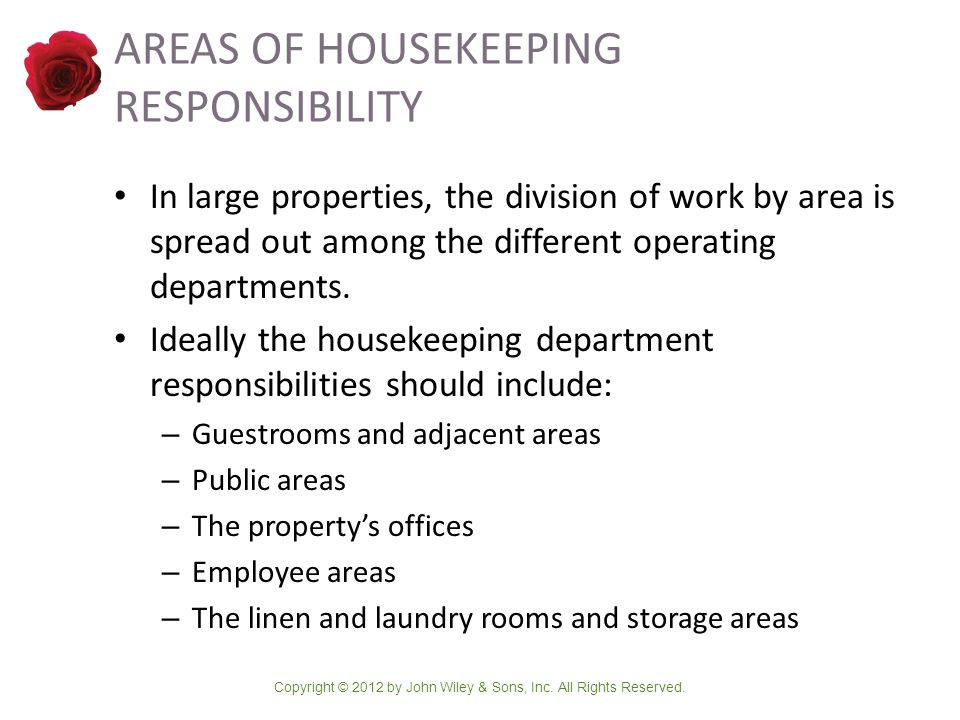areas of housekeeping responsibility - Housekeeping Responsibilities