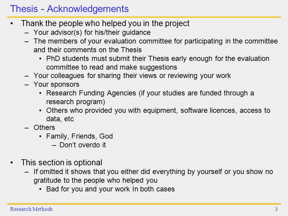 Dissertation acknowledgements example - Scribbr