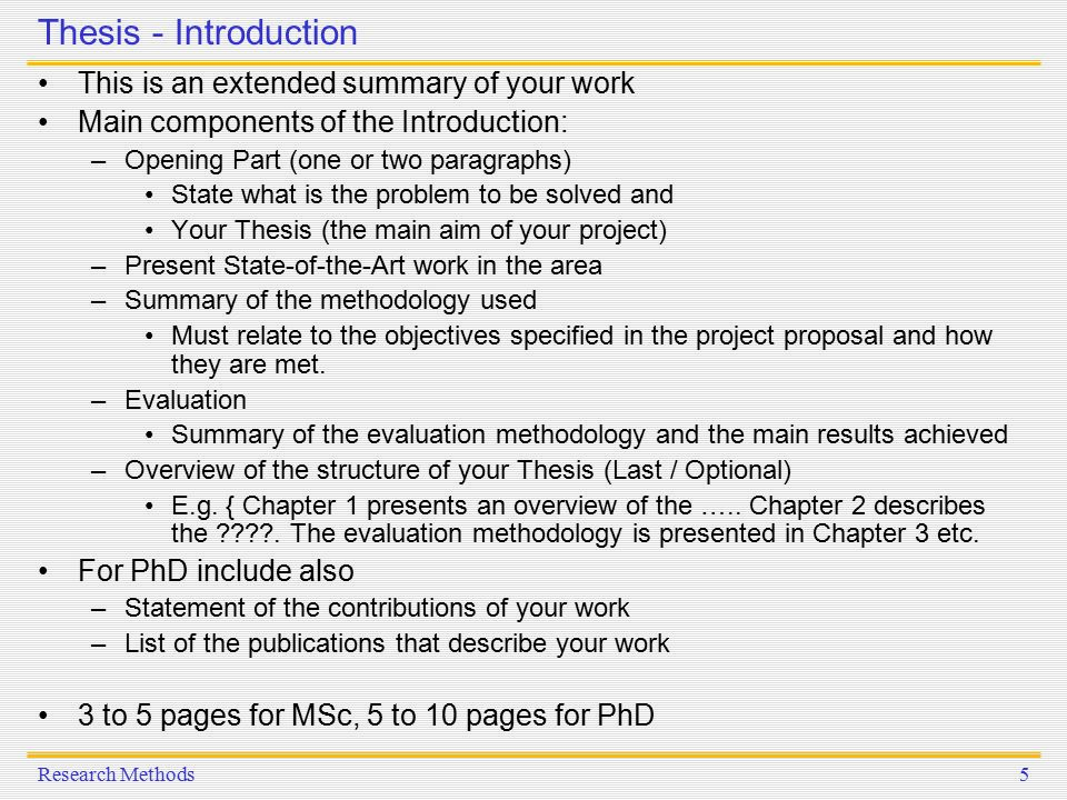 thesis introduction components Thesis and dissertation guide  the following order is required for components of your thesis or dissertation:  introduction, if any.