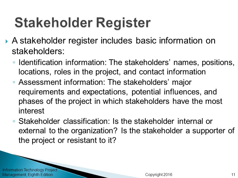 how to create stakeholder register