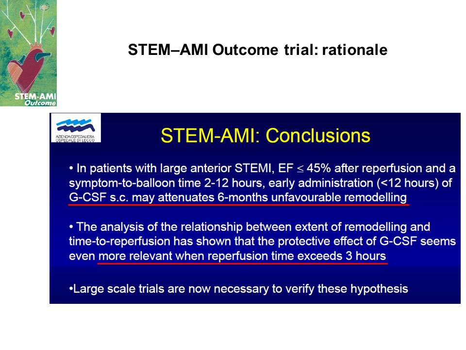 STEM–AMI Outcome trial: rationale