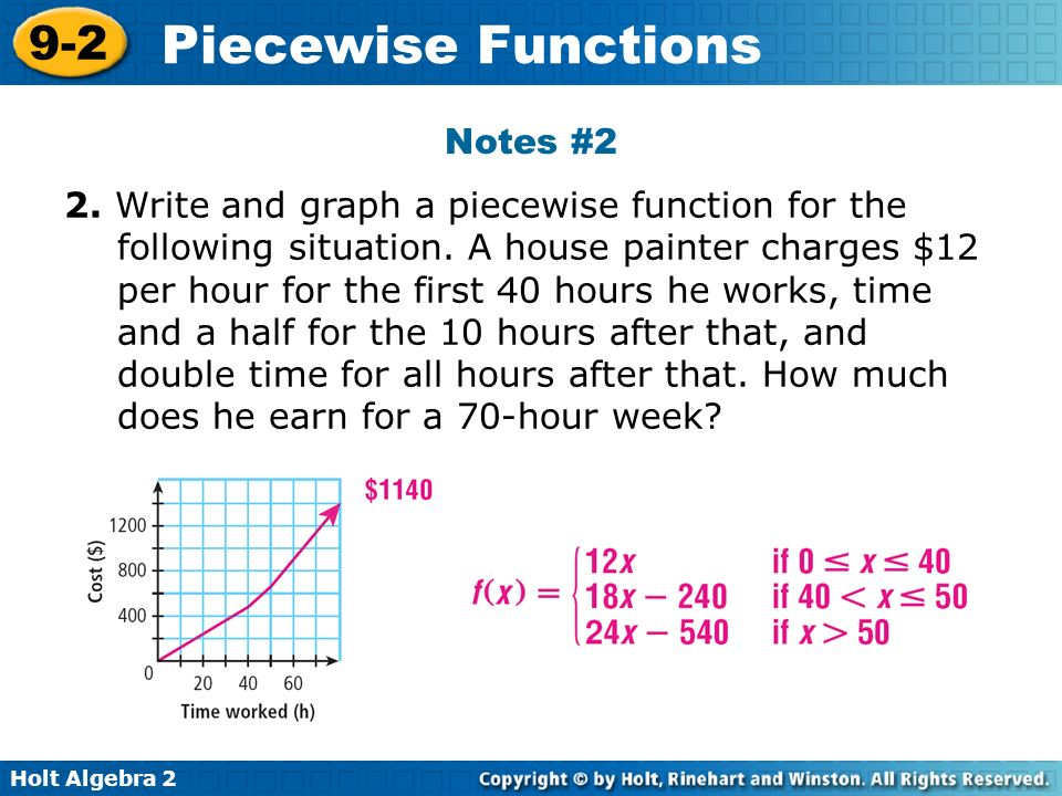 18 Notes #2 2. Write And Graph A Piecewise Function For The Following  Situation. A House Painter Charges $12 Per Hour ...