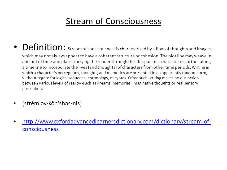 stream of consciousness writing example How to use stream of consciousness  just saw this example:  i can see why stream of consciousness is at the bottom of your list of favorite writing techniques .