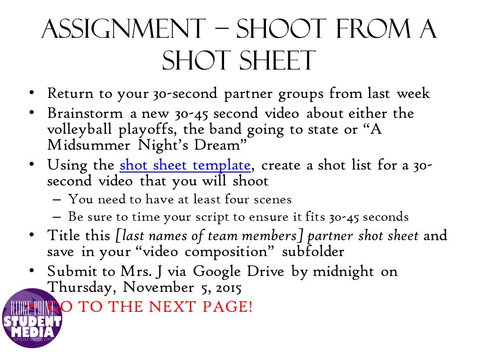 how to create a shot list