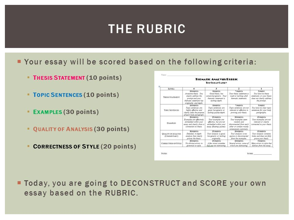 rubric for evaluation essay