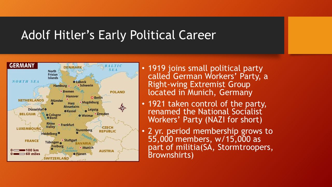 a look at the political career and rise of adolf hitler to power Jump to navigation jump to search hitler in conversation with ernst hanfstaengl  and hermann göring, 21 june 1932 adolf hitler's rise to power began in  germany in september 1919 when hitler joined the  this political party was  formed and developed during the post-world war i era it was anti-marxist and  opposed to.