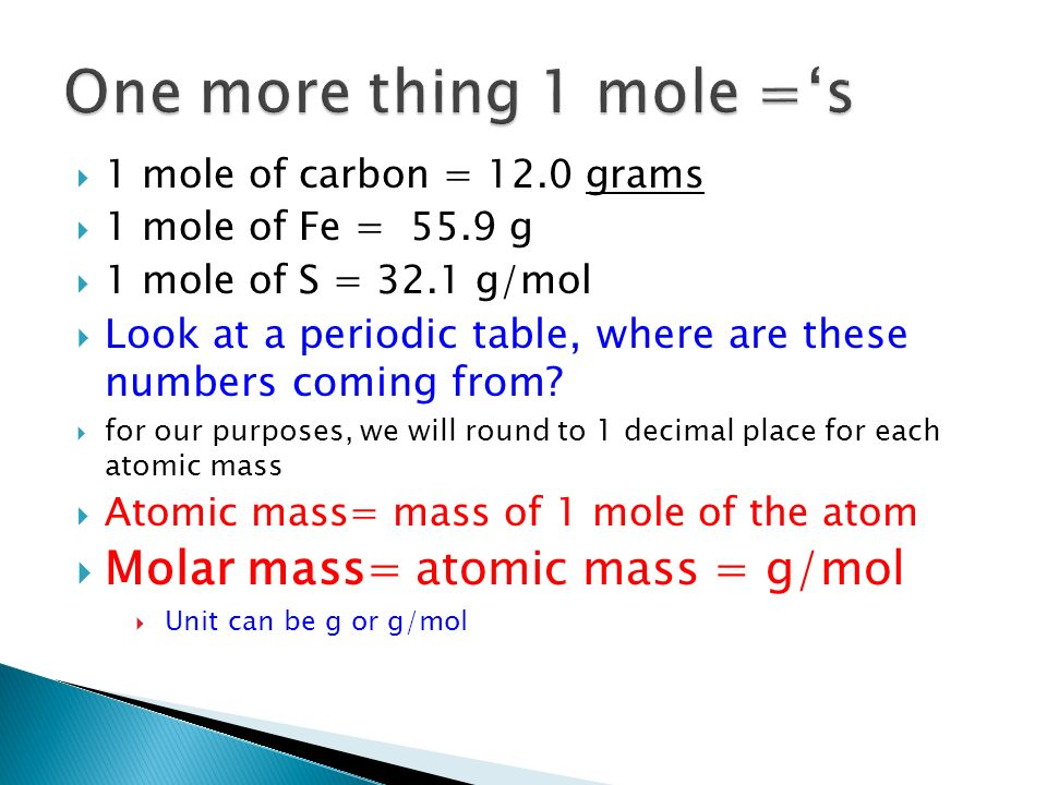 Semester 2 the mole ch 33 and ppt video online download one more thing 1 mole s molar mass atomic mass g urtaz Gallery