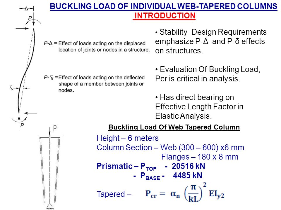 a report on buckling load analysis This paper presents a method and procedure of sensing and  the critical  buckling load obtained from the finite element analysis was 292 kn.