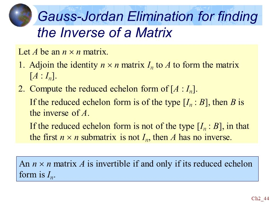gauss jordan elimination Solving linear equations with gaussian elimination @param array $a matrix @param array $x vector @return array solution vector / function gauss.