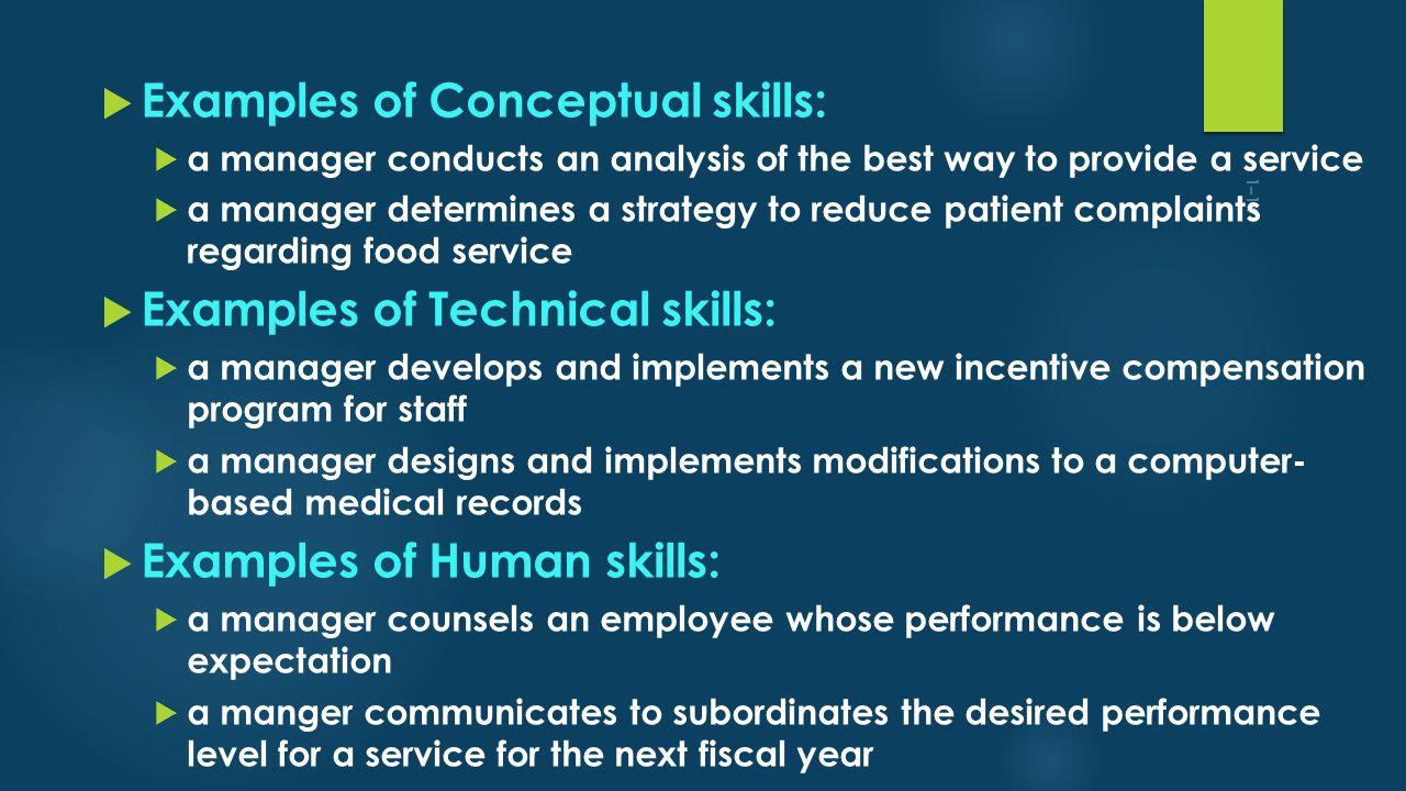 Examples of Conceptual skills: