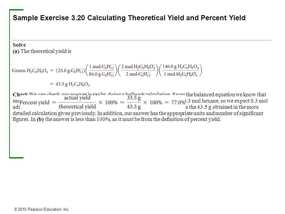 how to find theoretical yield example