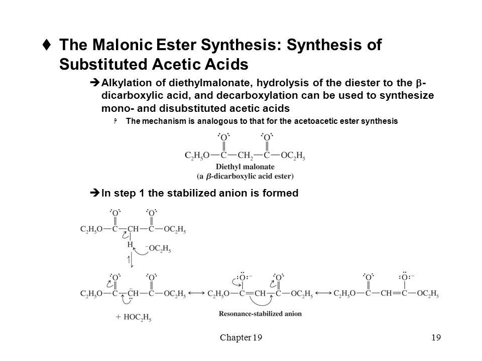malonic ester synthesis The product in this case is a phenyl substituted malonic ester rather than a  suitable reactions carried out from simple starting compounds is called synthesis.