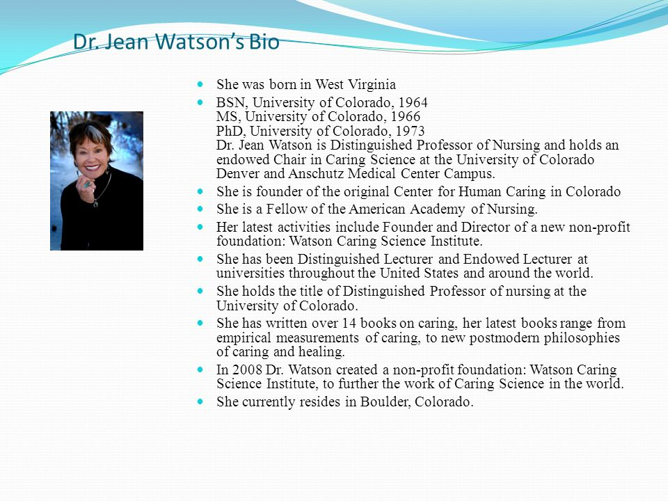 jean watson caring theory and assessment The theory of human caring, first developed between 1975 and 1979 by dr jean watson, forms the basis of the nevada state college's nursing curricula.